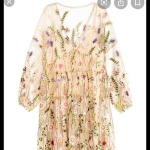 HM floral embroidered sheer dress xs